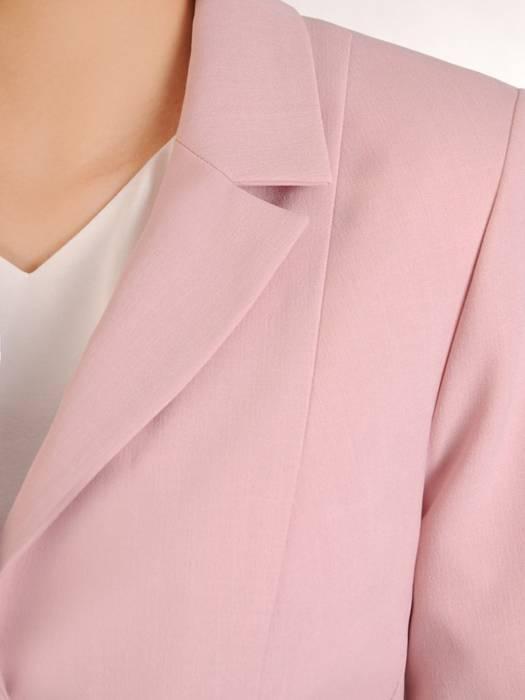 Garnitur damski, pudrowy komplet spodnie z żakietem 29723