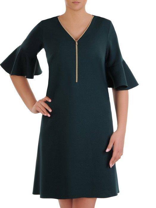 Luźna sukienka z ozdobnym suwakiem, trapezowa kreacja wizytowa 19827