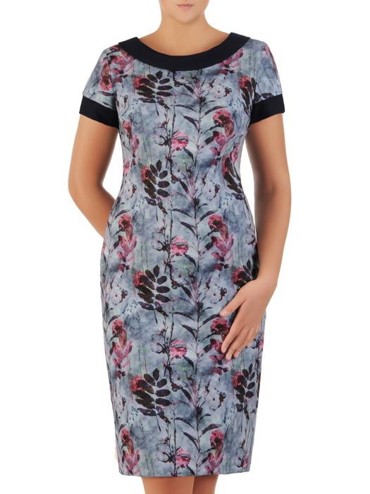 Sukienka wizytowa, prosta kreacja w roślinny deseń 21855