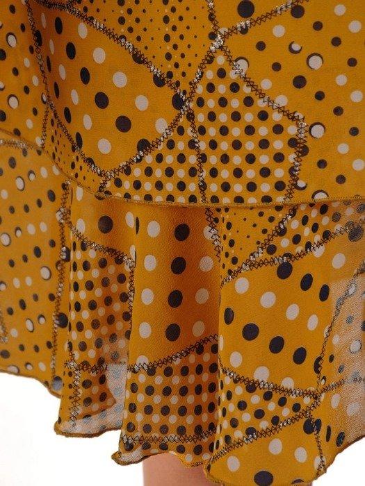 Trapezowa sukienka z szerokim półgolfem, lekka kreacja z wzorzystego szyfonu  25316