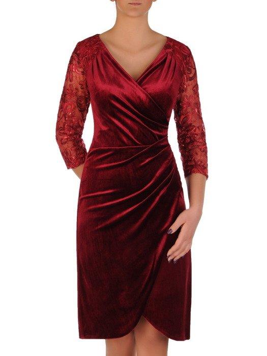 Aksamitna sukienka wyszczuplająca z koronkowymi rękawami 18890