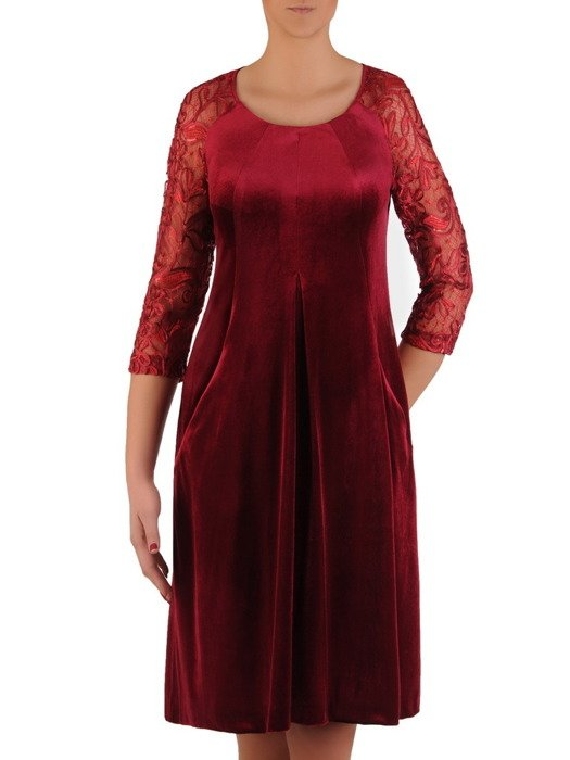 Aksamitna sukienka z ozdobną kontrafałdą, wyszczuplająca kreacja wieczorowa 19171