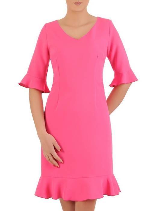Amarantowa sukienka z ozdobnymi falbanami 29157