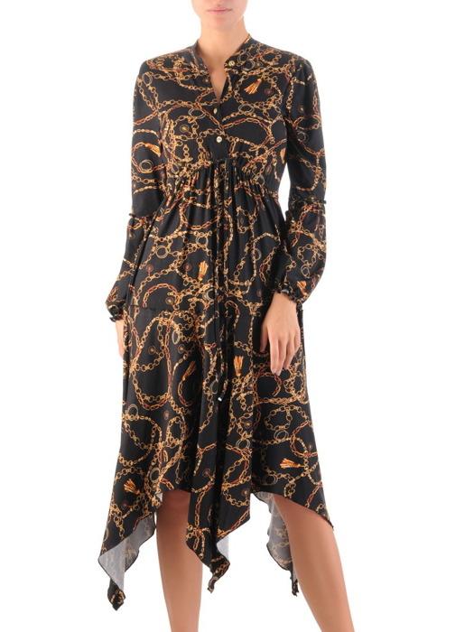 Asymetryczna sukienka w modny wzór, kreacja z podwyższonym stanem 22257