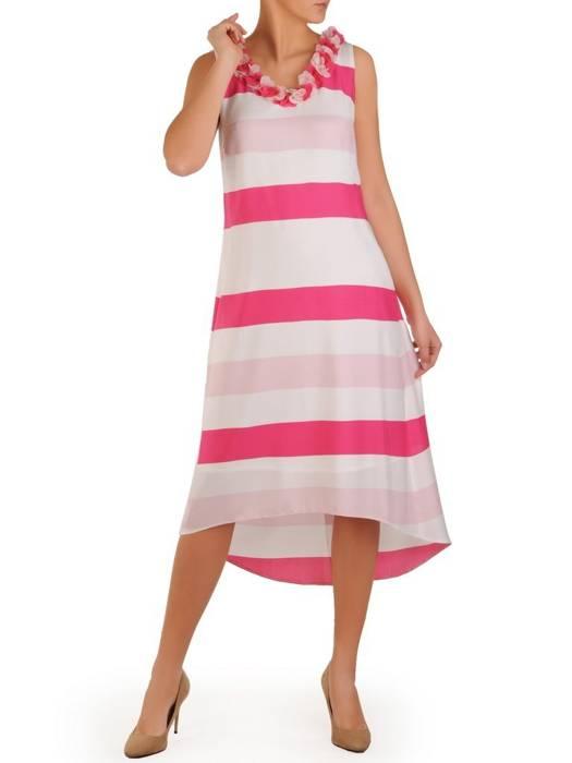 Asymetryczna sukienka w paski, kreacja z ozdobnym dekoltem i wiązaniem na plecach 28287