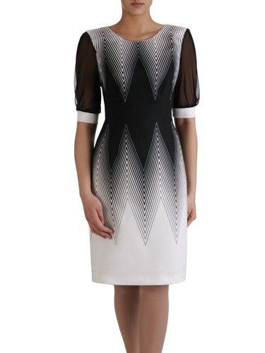 Atrakcyjna sukienka w geometryczny, wyszczuplający wzór 15158.