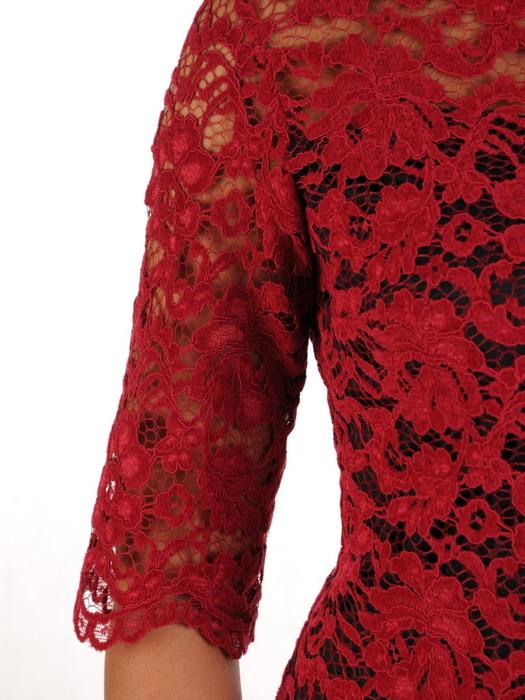 Atrakcyjna sukienka z kontrastowej koronki, elegancka kreacja wyjściowa 21926