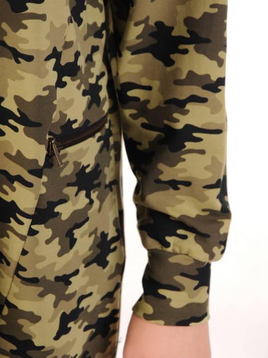 Bawełniana sukienka w luźnym fasonie i wojskowym wzorze 31175