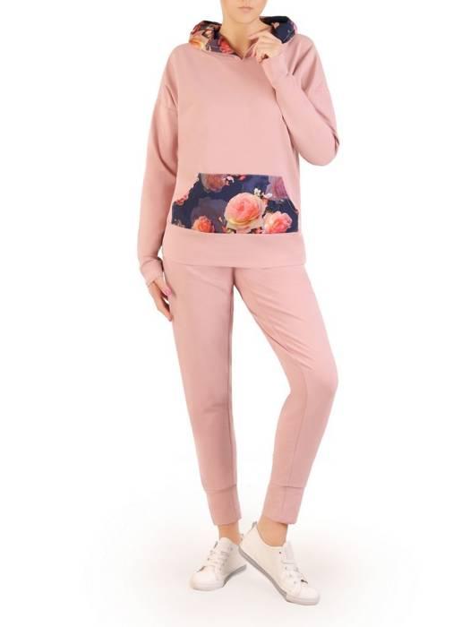 Bawełniany dres z kapturem, komplet z kwiatowymi wstawkami 29692