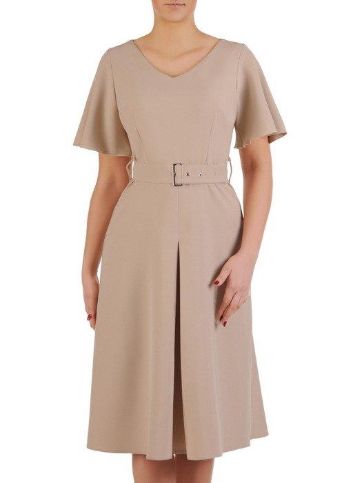 Beżowa sukienka z kontrafałdą i modnym paskiem 19623