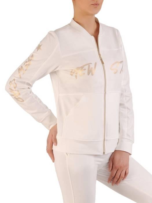 Biała bluza zapinana na zamek z ozdobnymi napisami 29654