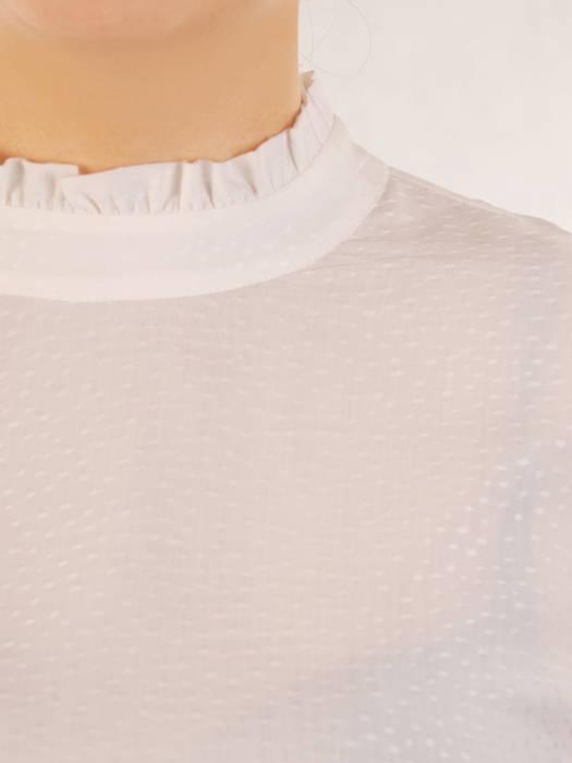 Biała bluzka z baskinką i falbanami na rękawach 30937