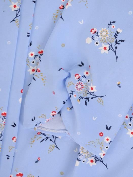 Błękitna bluzka damska z ozdobnym przodem 29824