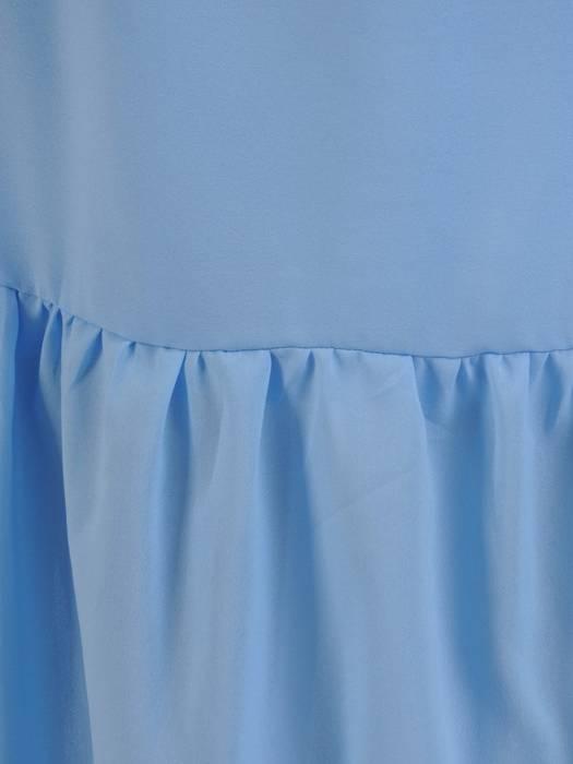 Błękitna, długa sukienka z wiązaniem w pasie 26837