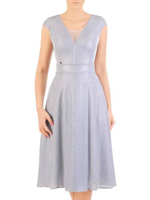 Błękitna sukienka na wesele, połyskująca kreacja z dzianiny 30006