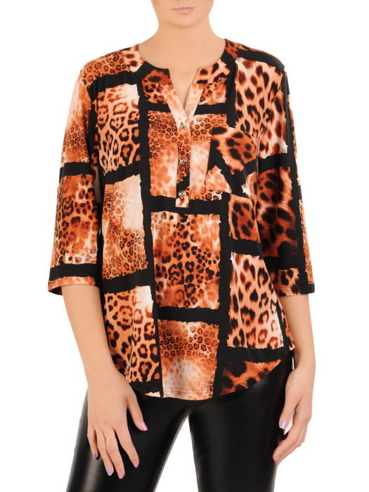 Bluzka damska z guzikami na dekolcie 30980
