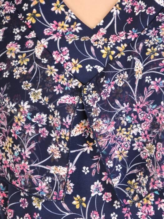 Bluzka w kwiaty z ozdobnymi rękawami 29978