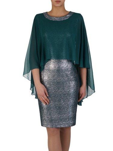 Błyszcząca sukienka Flawia VII, kreacja z szyfonową narzutką.