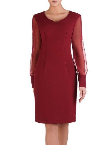 Bordowa sukienka z tiulowymi rękawami 14433, wieczorowa kreacja z ozdobnym dekoltem.