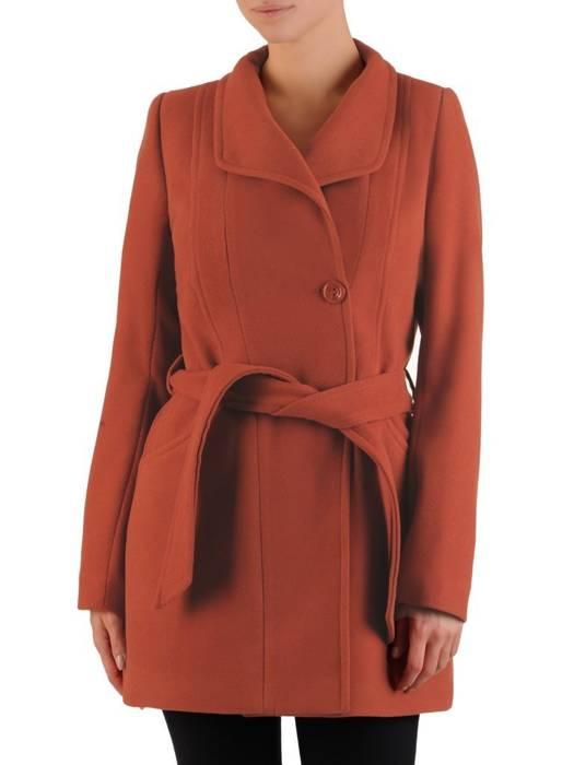 Ceglasty płaszcz damski z ozdobnym wiązaniem 27095
