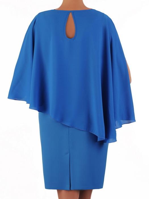 Chabrowa sukienka maskująca brzuch, modna kreacja z narzutką 21485
