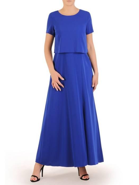 Chabrowa sukienka maxi, kreacja z modnym rozcięciem 30065