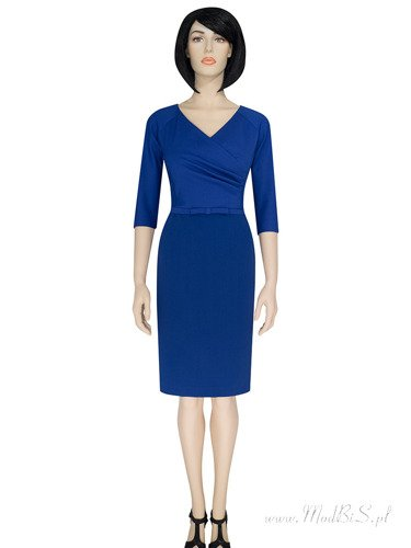 Chabrowa sukienka z kokardką w pasie Marlena II, stylowa kreacja kopertowa