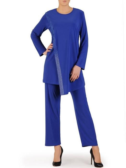 Chabrowy komplet damski z dzianiny, asymetryczna tunika ze spodniami 28781