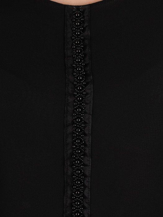 Czarna bluzka wykończona ozdobnymi koralikami 19916