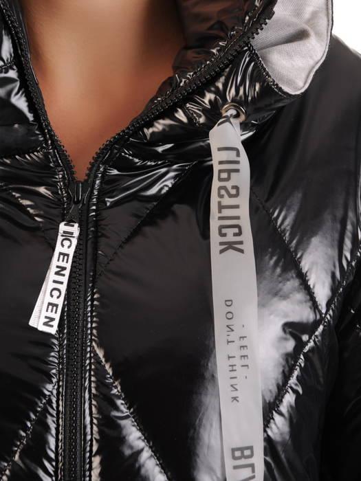 Czarna kurtka z dresowymi wstawkami na rękawie i kapturze 30665