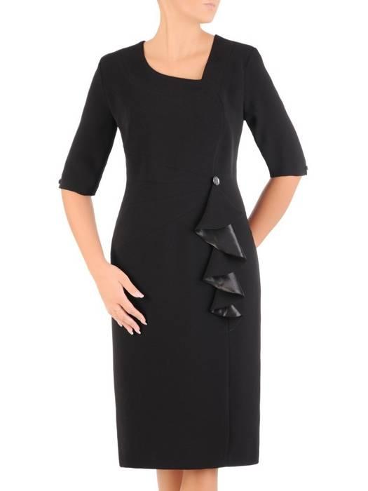 Czarna sukienka damska, kreacja wyjściowa z ozdobną falbaną 27359