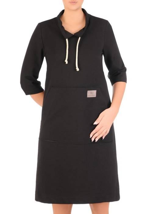 Czarna sukienka damska, sportowa kreacja z dzianiny 27666
