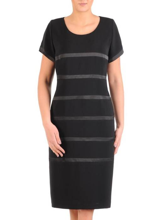 Czarna sukienka w satynowe paski 28964