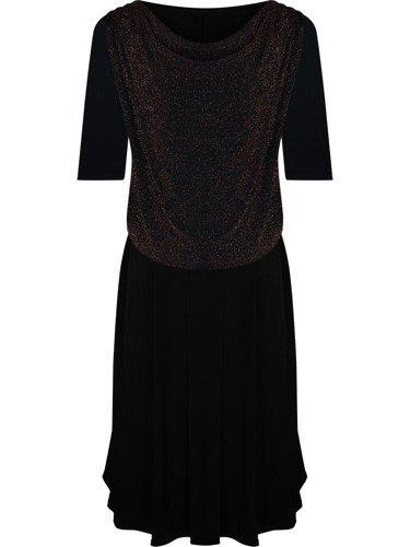 Czarna sukienka wieczorowa Elwira II, kreacja z dekoltem typu woda.
