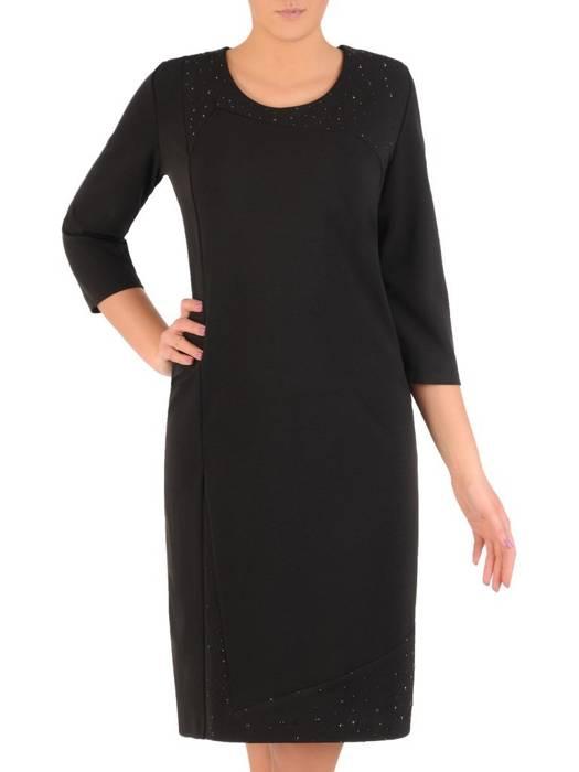 Czarna sukienka z dzianiny, kreacja z cyrkoniami 28399