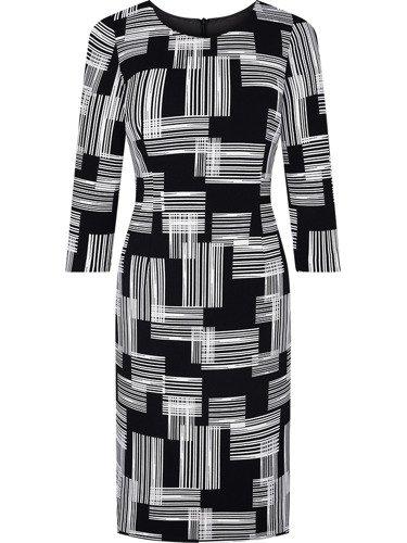 Czarna sukienka z geometrycznym nadrukiem Alojza, modna kreacja na jesień
