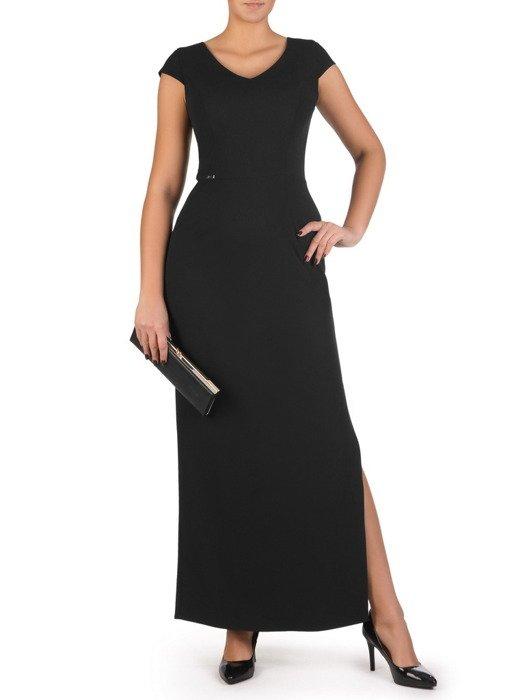 Czarna suknia z efektownym rozcięciem 18291, nowoczesna kreacja wieczorowa.