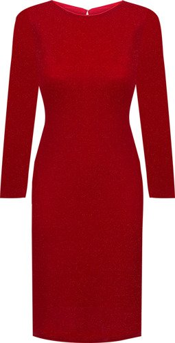Czerwona sukienka Blandyna I, zmysłowa kreacja z połyskiem.