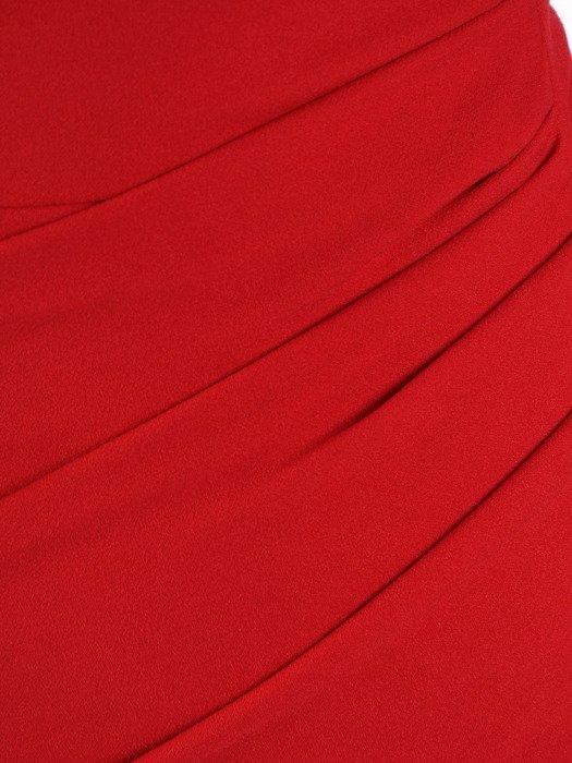 Czerwona sukienka, kopertowa kreacja z koronkowymi rękawami 20049.