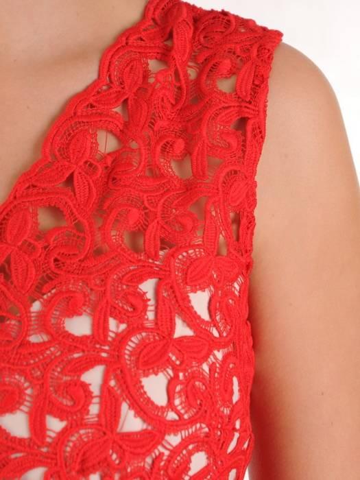 Czerwona sukienka z tiulowym wykończeniem, oryginalna kreacja wieczorowa 27466
