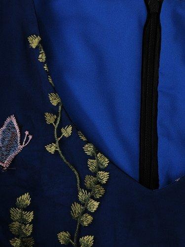 Długa, dwuwarstwowa sukienka wykończona gipiurą 15404.