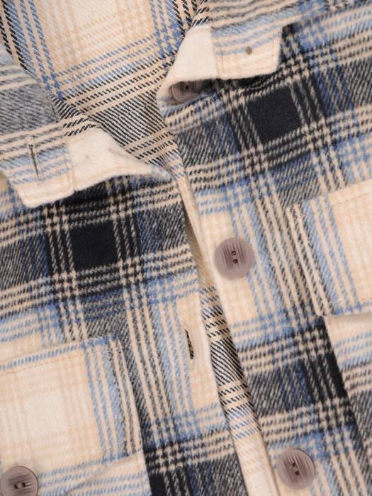 Długa kurtka koszulowa damska w kratkę 29055
