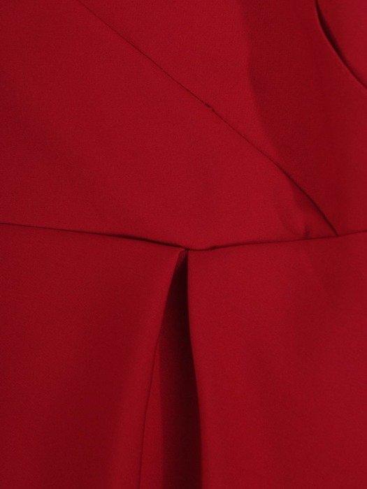 Długa sukienka kopertowa, kreacja z ozdobą na plecach 22749