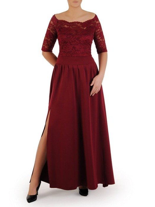 Długa sukienka z koronkowym topem, kreacja z modnym dekoltem 22916