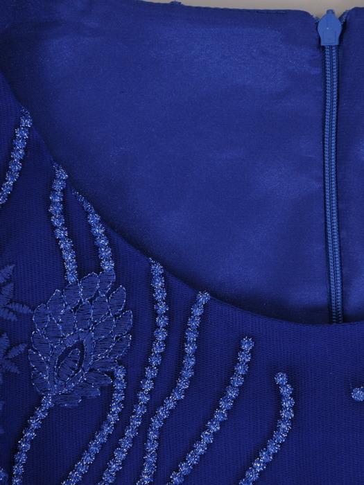 Długa suknia na wesele, chabrowa kreacja z koronkowym topem 21985