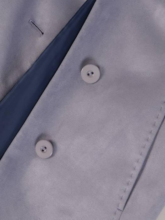 Długi zamszowy płaszcz zapinany na guziki 28505