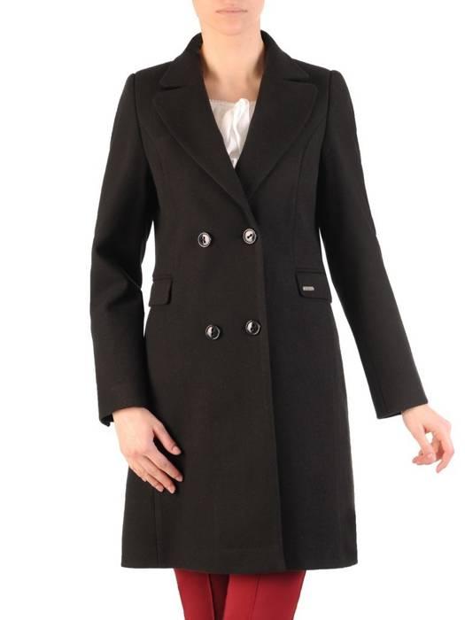 Dwurzędowy płaszcz damski w kolorze czarnym 28526
