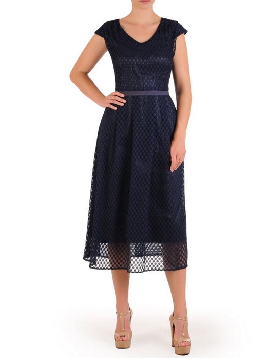 Dwuwarstwowa sukienka z koronki 21440, rozkloszowana kreacja w groszki.