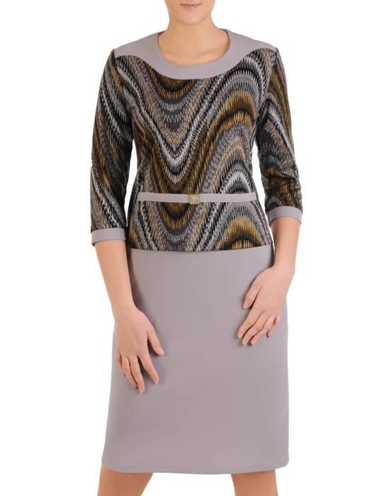Dzianinowa sukienka z baskinką, jesienna kreacja w modny wzór 28844