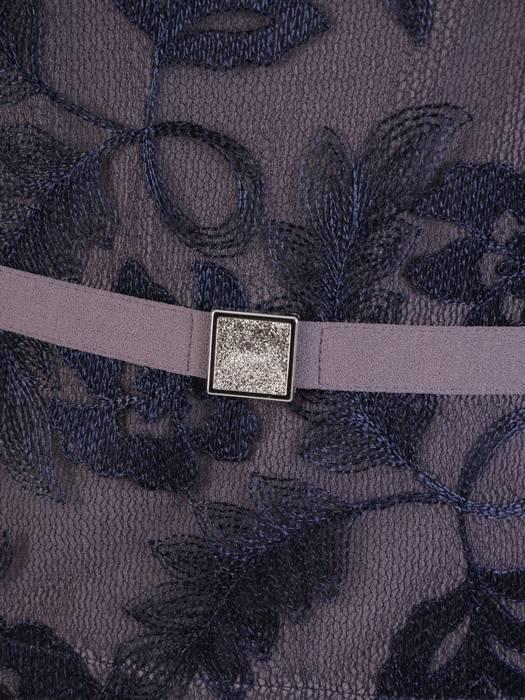Dzianinowa sukienka z modną baskinką, jesienna kreacja wykończona koronką 27034